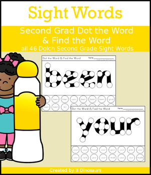 Sight Word Second Grade Dot the Word & Find the Word