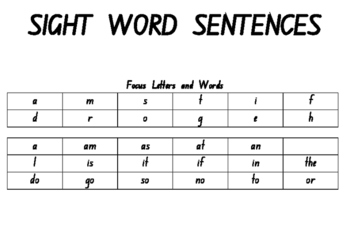 Sight Word Sentence Book