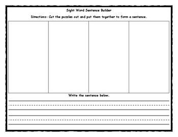 Sight Word Sentence Builder