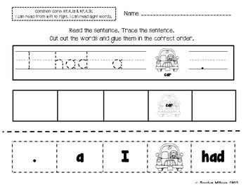 Sight Word Sentence Builder Worksheets