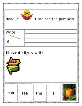 Sight Word Sentence Building Activity - Pumpkin
