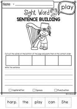 Sight Word Sentence Building (Pre-Primer)