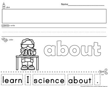 Sight Word Sentence Cut and Paste Worksheets