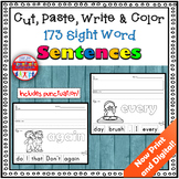 Sight Word Sentence Cut and Paste Worksheets Distance Learning Google Classroom