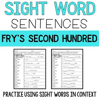 Sight Word Sentences: Fry's Second 100