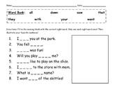 Sight Word Sentence Fill-in & Illustration