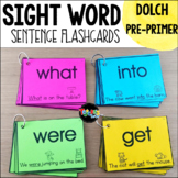 Sight Word Sentence Flashcards: DOLCH Pre-Primer
