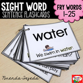 Sight Word Sentence Flashcards & Assessment Set: Fry Words 1-25