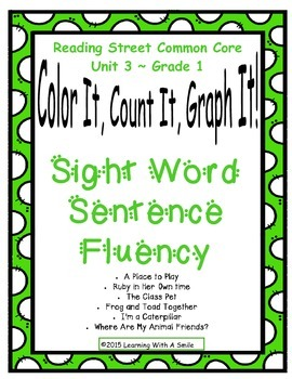 Reading Street Common Core Gr 1 ~ Sentence Fluency & Graphing ~ Unit 3