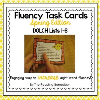 Sight Word Fluency Sentence Task Cards {Spring Edition}
