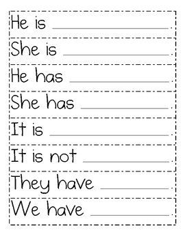 Sight Word Sentence Frame Strips