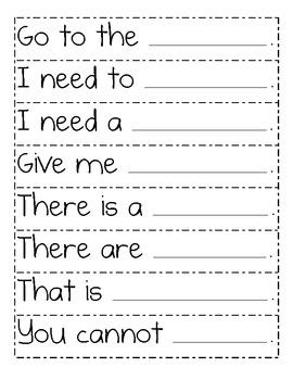 Sight Word Sentence Frame Strips