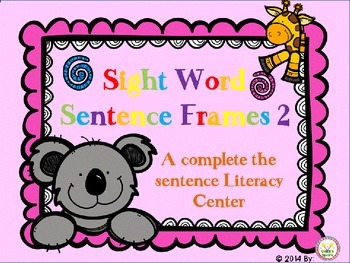 Sight Word Sentence Frames 2