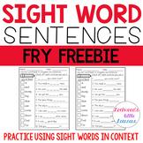 Sight Word Sentence Freebie