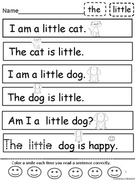 Sight Word Kindergarten Sentence Fun