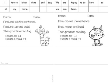 Sight Word Sentence Literacy and Math Center Activity