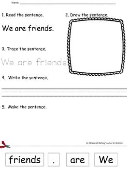 Sight Word Practice w/ Sentences - No Prep!