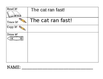 Sight Word Sentence Prompts