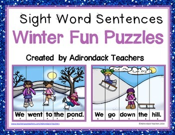 Sight Word Sentence Puzzles Winter Fun