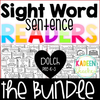 Sight Word Sentence Readers-Dolch Pre-K-3 Bundle B/W