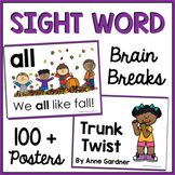 Kindergarten Sight Word Cards and Posters with Digital Bra