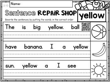 Sight Words Sentence Repair Shop