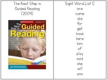 Sight Word Sentence Rings- List C