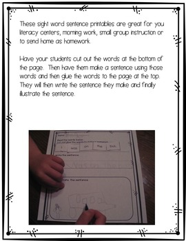 Sight Word Sentence Scramble Printables {Dolch Word List 1}