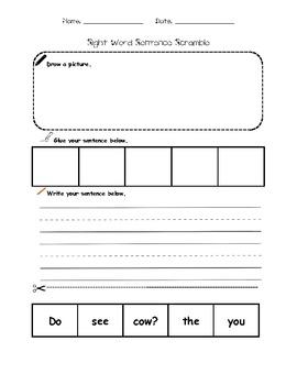 Sight Word Sentence Scramble Sample Pack