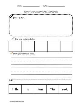 Sight Word Sentence Scramble for THE and IS