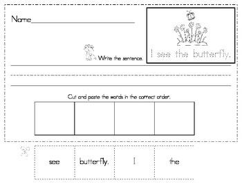 Sight Word Sentence Scrambles, Read and Write Simple Sentences!