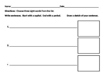 Sight Word Sentence Sheet