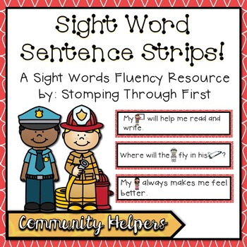 Sight Word Sentence Strips: Community Helpers Set