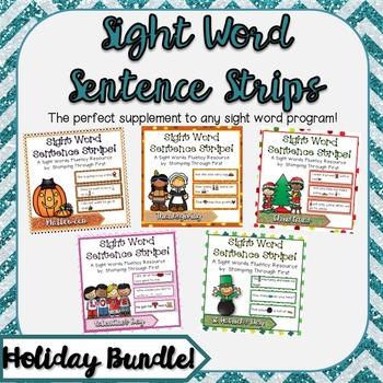 Sight Word Sentence Strips: Holiday BUNDLE!