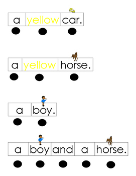Sight Word Sentence Strips (a, yellow, horse, car, boy, and)