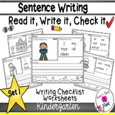 Kindergarten Sentence Structure Writing *Sentence Building- Set 1