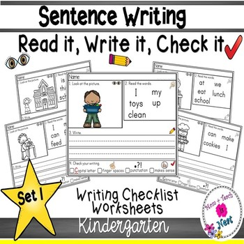 Kindergarten Sentence Structure Writing *Sentence Building- Set 1