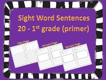 Sight Word Sentence Writing 1st Grade 20 Words