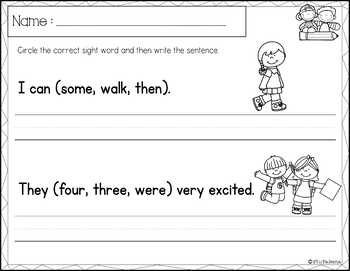 sight word sentence writing first grade by miss faleena tpt. Black Bedroom Furniture Sets. Home Design Ideas
