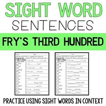 Sight Word Sentences: Fry's Third 100