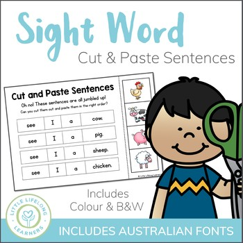Sight Word Sentences - Cut and Paste Activity - ELEMENTARY + QLD FONT