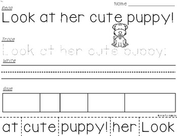 Sight Word Sentences (Dolch 1st Grade) {Read-Trace-Write-Glue}