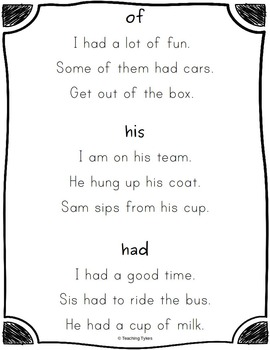Sight Word Sentences Dolch First Grade