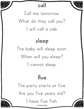 Sight Word Sentences Dolch Second Grade