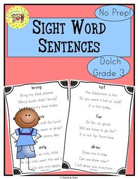 Sight Word Sentences Dolch Third Grade
