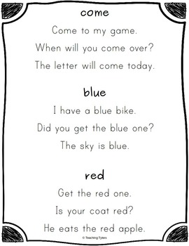 Sight Word Sentences     Dolch Pre-Primer