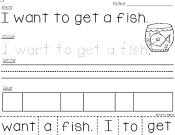Sight Word Sentences (Dolch Primer) {Read-Trace-Write-Glue}