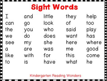 Sight Word Sentences Fill In