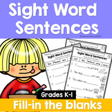Sight Word Sentences: Fill-in-the-Blanks BUNDLE