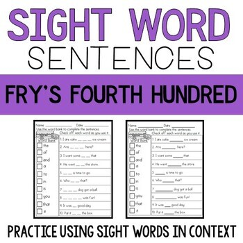 Sight Word Sentences: Fry's Fourth Hundred